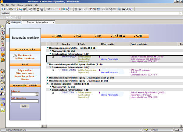 Beszerzési Workflow - Munkakosár